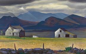 Картинка пейзаж, горы, дома, картина, Адирондак, Rockwell Kent, Рокуэлл Кент