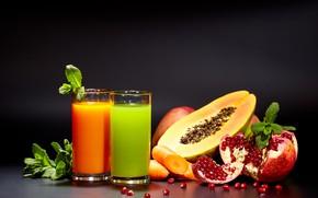 Картинка яблоко, сок, мята, морковь, гранат