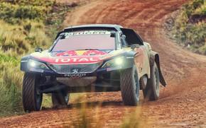 Картинка Авто, Машина, Скорость, Peugeot, Фары, Red Bull, Rally, Dakar, Дакар, Внедорожник, Ралли, Sport, Передок, Бездорожье, …
