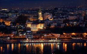 Обои Сербия, город, A night in Belgrade, вечер, Белград