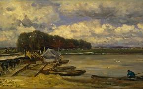 Картинка пейзаж, масло, картина, Виллем Рулофс, Мост через Эйссел на Дусбург