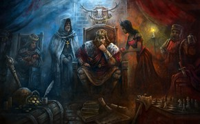 Картинка axe, game, gold, weapon, woman, crown, man, blade, king, helmet, dagger, Age of Impires, Age …