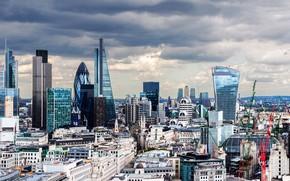 Картинка небо, облака, Англия, Лондон, здания, дома, панорама, мегаполис