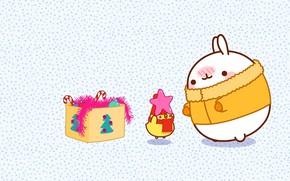 Картинка праздник, игрушки, аниме, арт, Новый год, мишура, зайчик, звёздочка, детская, кодомо, моланг
