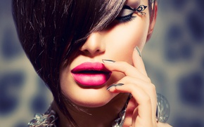 Картинка девушка, украшения, ресницы, модель, макияж, Анна Субботина