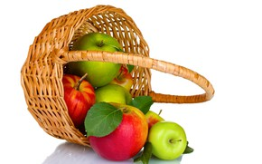 Картинка яблоки, урожай, фрукты, корзинка