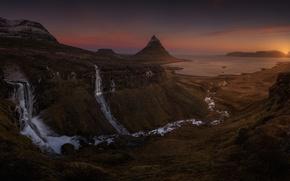 Картинка море, скалы, гора, вечер, водопады, Исландия