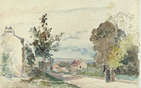 Обои акварель, Дорога из Версаля в Лувесьен, Камиль Писсарро, рисунок, пейзаж