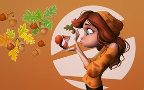 Картинка девушка, арт, белочка, дуб, жёлудь, Girl and Squirrel, Nick chan