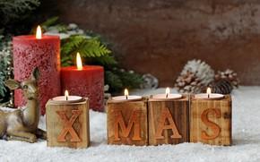 Картинка праздник, новый год, свечи, олень, шишки, декор