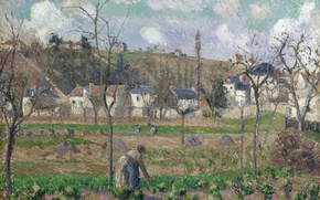 Картинка деревья, пейзаж, дома, картина, грядки, Камиль Писсарро, Garden of Maubuisson. Pontoise. Mother Belette
