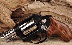 Обои оружие, револьвер, weapon, custom, Smith & Wesson, Military Police, 357 Magnum, revoler, хром и блек, ...