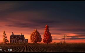 Картинка поле, деревья, дом, ветряк, Gus - Petit Oiseau Grand Voyage