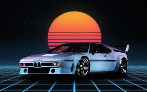 Картинка Авто, Ночь, Луна, Неон, BMW, Машина, Арт, Фантастика, BMW M1, Synthpop, Darkwave, Synth, Retrowave, Синти-поп, ...