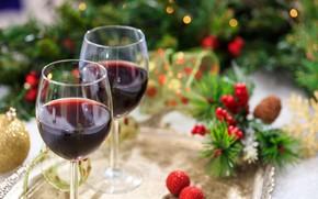 Картинка вино, новый год, бокалы, лента, украшение, декор