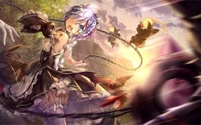 Картинка белый, девушка, магия, кровь, демон, форма, anime, горничная, art, рог, rem, re zero kara hajimeru …