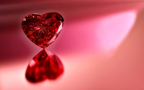 Картинка драгоценный камень, отражение, свет, фон, сердце, красный цвет, рубин, блеск