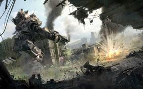 Картинка battlefield, gun, game, robot, mecha, weapon, war, dust, rifle, machine gun, combat, Titanfall, Titanfall 2, …