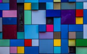 Обои стена, узор, краски, окна, блоки, текстура, объем
