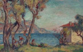 Картинка пейзаж, картина, Georges d'Espagnat, Маленький Домик на Берегу Моря