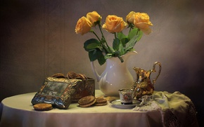 Картинка розы, букет, чайник, печенье, натюрморт
