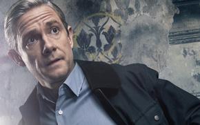 Обои доктор Джон Ватсон, Doctor John Watson, британский актер кино и телевидения, 2017, BBC, Шерлок, Мартин ...