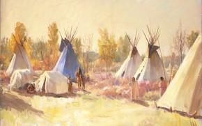 Картинка Joseph Henry Sharp, таос, The Blue Tepee