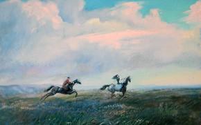 Картинка трава, облака, цветы, игра, Айбек Бегалин, 2006г, Догони девушку