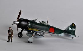Обои пилот, A6M Zero, моделька, палубный истребитель, Mitsubishi, игрушка