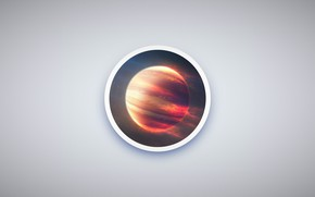 Обои space, minimalism, planet, circle, Jupiter, simple design