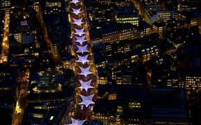 Картинка ночь, огни, праздник, Англия, Лондон, дома, Рождество, панорама, улицы, Риджент-стрит