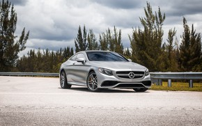 Картинка Mercedes, Sky, Blue, AMG, Coupe, Silver, S63