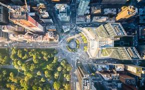 Обои свет, деревья, город, парк, улица, дома, Нью-Йорк, США, вид сверху