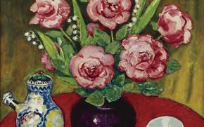 Картинка масло, чайник, ваза, холст, Kees van Dongen, пиалка, Натюрморт с розами и ландышами