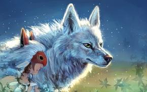 Картинка Девушка, Princess Mononoke, Волки, Принцесса Мононоке, Mononoke Hime
