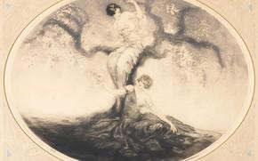 Картинка дерево, две женщины, Луи Икар, Время цветения, арт-деко, 1926, офорт и акватинта