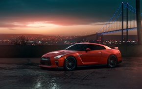 Обои GTR, Nissan, Red, Car, Sunset, R35, View