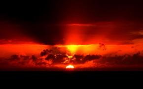 Картинка море, солнце, облака, закат