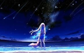 Обои by lluluchwan, небо, падающие звезды, ночь, школьница, море