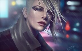 Картинка глаза, взгляд, девушка, лицо, фантастика, дождь, красота, вечер, протез, cyberpunk