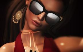 Картинка девушка, лицо, стиль, очки