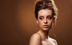 Картинка взгляд, девушка, лицо, фон, портрет, макияж, причёска, плечи, Денис Елманов