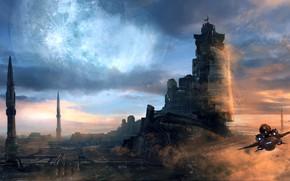 Картинка небо, облака, фантастика, корабль, арт, sci-fi