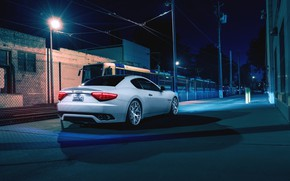 Картинка Maserati, Night, Street, Supercar, Gran Turismo, Rear