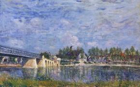 Картинка пейзаж, река, картина, Alfred Sisley, Альфред Сислей, Мост в Сен-Мамес