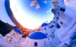 Картинка море, небо, облака, город, рендеринг, фантазия, белое, голубое, остров, Санторини, картинка, замкнутое пространство