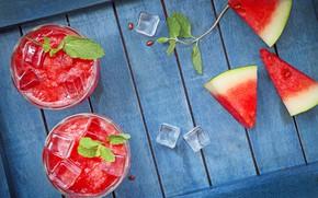 Обои ягода, лед, арбуз, сок, дольки