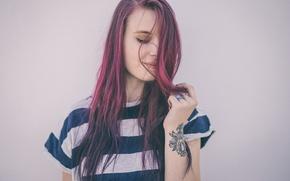 Картинка девушка, волосы, цветные, портрет