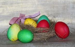 Обои праздник, еда, яйца, пасха, гнездо