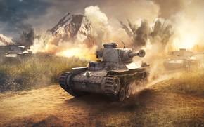 Обои дорога, взрывы, горы, танки, War Thunder, Japanese Tank